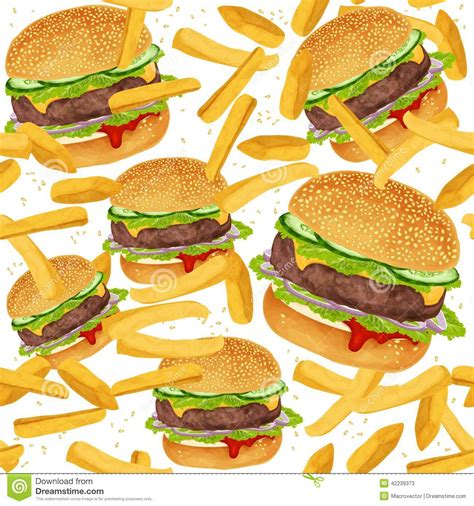 Hamburger Seamless Pattern Stock Vector   Image: 42239373