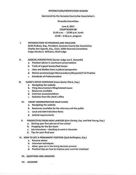 board member orientation agenda sarasota county bar association