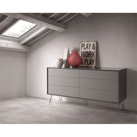 Commode Design Pas Cher by Commode Design 6 Tiroirs Alborg Gris Mat Achat Vente
