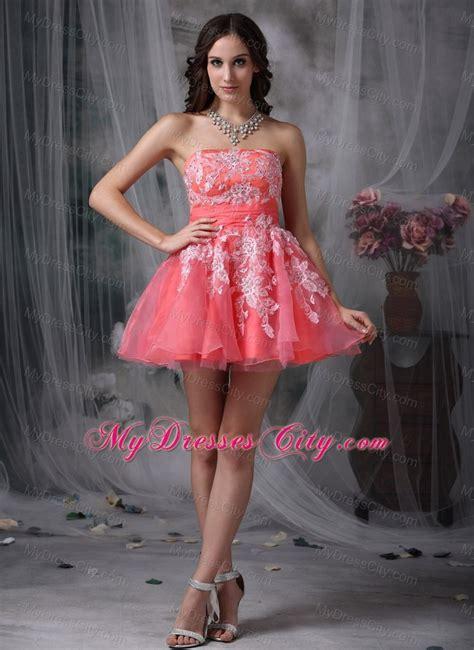 Pretty Dress Semi Formal Anak 1selina mini length watermelon a line prom dress with appliques mydresscity
