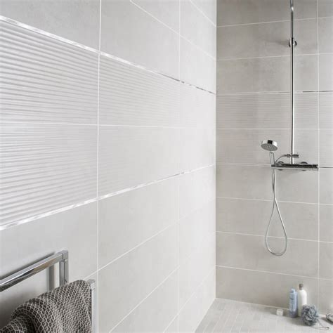 Ordinaire Prix Carrelage Salle De Bain Leroy Merlin #8: Faience-mur-blanc-mineral-live-l-24-x-l-69-cm.jpg