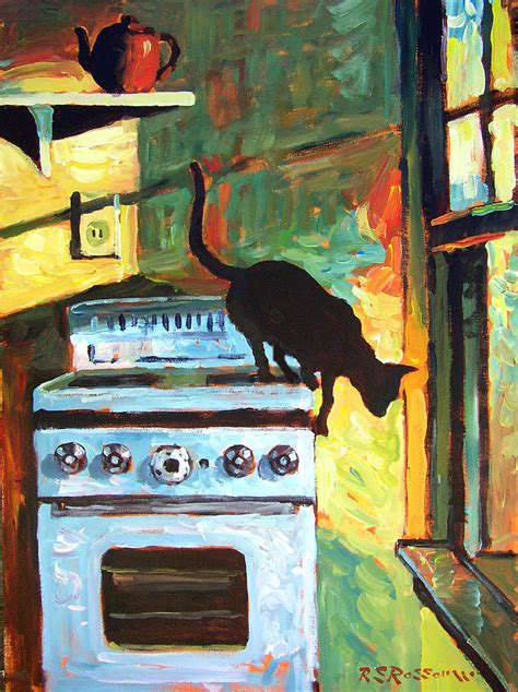 Kitchen Paintings | black cat in the kitchen painting by roelof rossouw