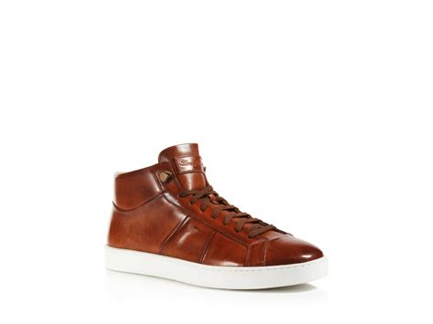 santoni sneakers lyst santoni gloria high top sneakers in brown for