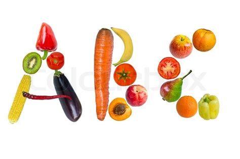 fruit 9 letters letters from fruits and vegetables stock photo colourbox