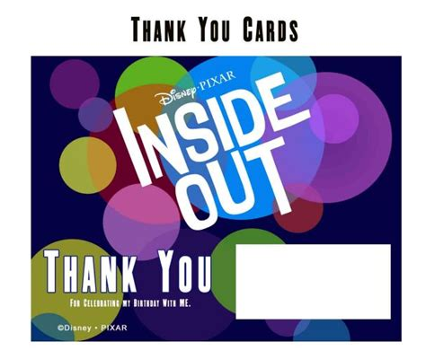 Free Printable Inside Out Thank You Cards | free inside out printable party decoration pack