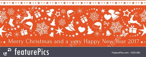 seamless red border  merry christmas  happy  year  stock illustration