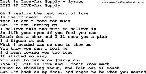 lost lyrics air supply songs