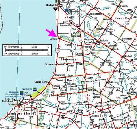 printable road maps ontario bayfield ontario maps