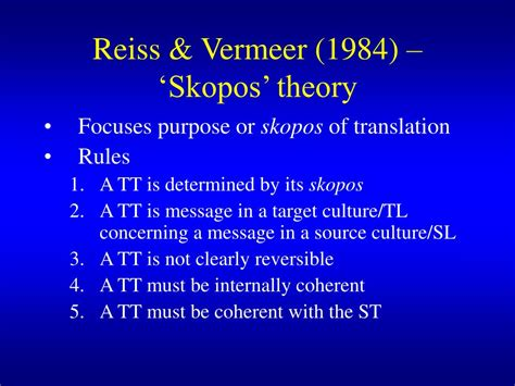 Skopos Theory Literature Review ppt translation theory and the non l iterary text powerpoint presentation id 236274