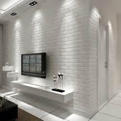 Bedroom Wallpaper Store Mediterranean White Brick Pattern Nonwoven Wallpaper 3d