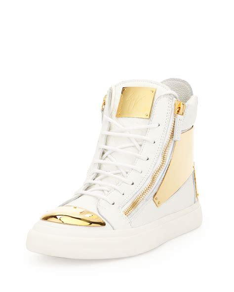 giuseppe zanotti leather goldenplate hightop white in