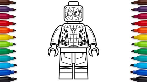draw lego spider man homecoming marvel super