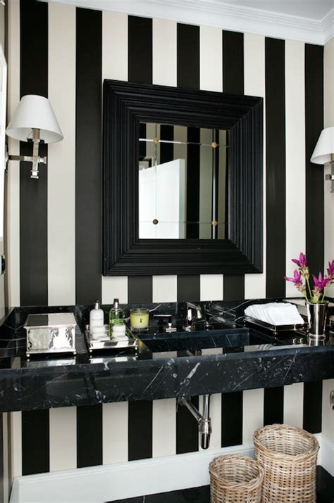striped wallpaper bathroom black and white vertical striped walls design ideas