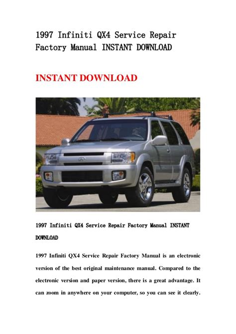 service manual 1997 infiniti qx workshop manual free download 1997 1998 2001 infiniti qx4