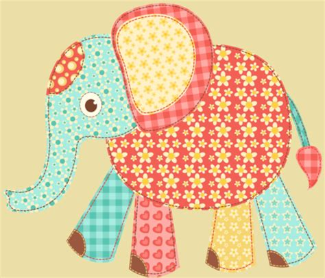 Elephant Patchwork Fabric - patchwork elephant fabric twosister42 spoonflower
