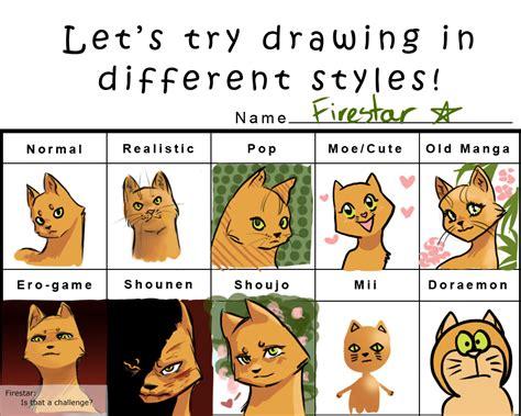 Warrior Cat Memes - different styles meme firestar by tigermooncat on deviantart