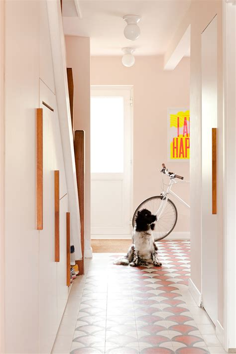 Dog in Pink Hallway with Tiled Floors   Tile Mountain