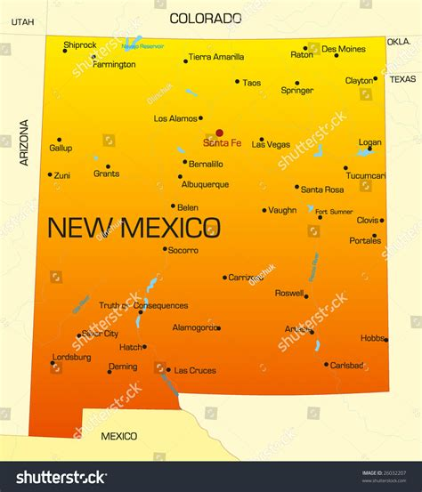 new mexico state colors vector color map new mexico state stock vector 26032207