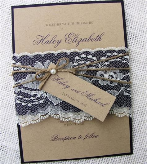 rustic wedding invitation lace wedding invitation shabby chic wedding kraft invitation suite