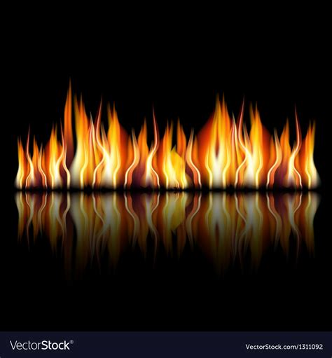 burning fire flame  black background royalty  vector