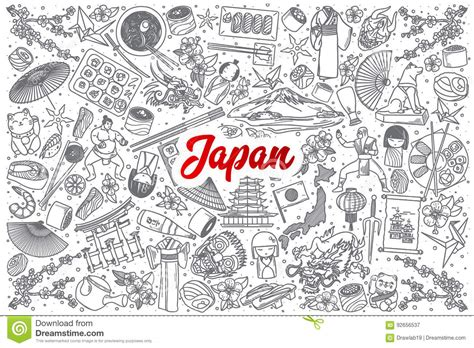 doodle japan japan doodle set with lettering stock vector