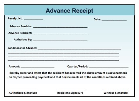 advance payment receipt template receipt templates microsoft word templates
