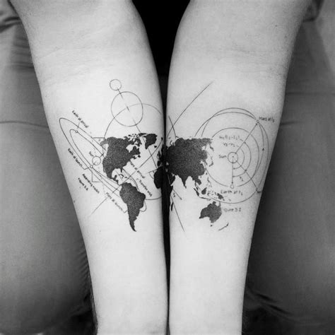 35 best world map tattoo ideas for travel lovers