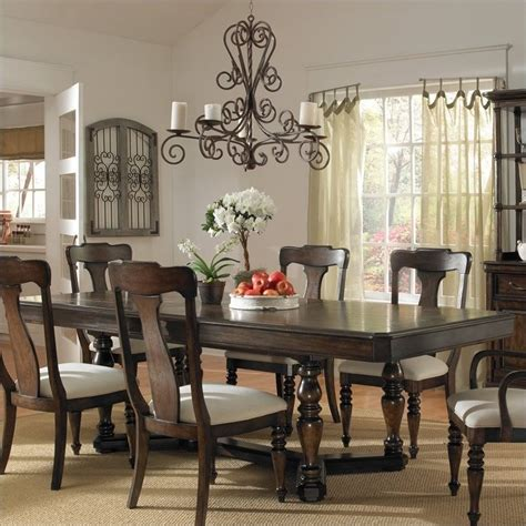 Dining Room Chairs Pecan Finish Pulaski Saddle Ridge Dining Table In Aged Pecan Finish For