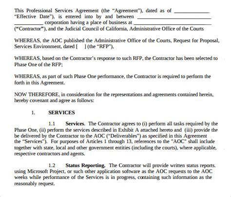12 Professional Services Agreement Templates To Download Sle Templates Professional Services Agreement Template