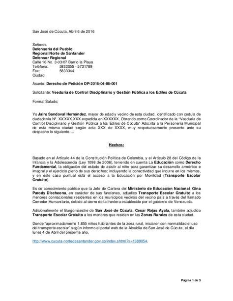 derecho de petici 243 n a la defensor 237 a del pueblo