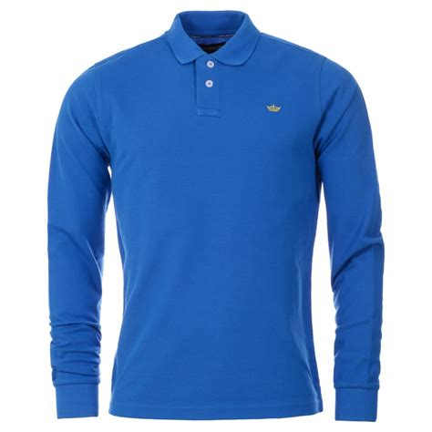 Polo Longsleeves Shirt mens royal blue chest embroidered sleeve polo shirt
