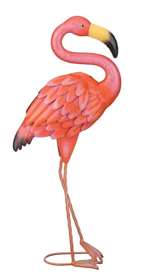 pretty  pink flamingo standing metal art garden patio