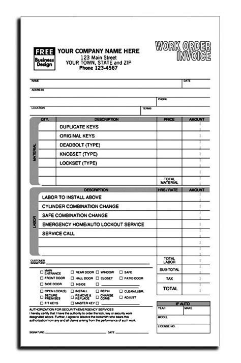 Locksmith Invoice Template Free Invoice Exle Work Order Invoice Template