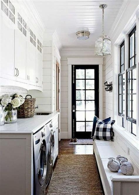 Black Window Trim Modernize Black And White Laundry