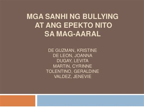 thesis sa bullying bullying research in filipino