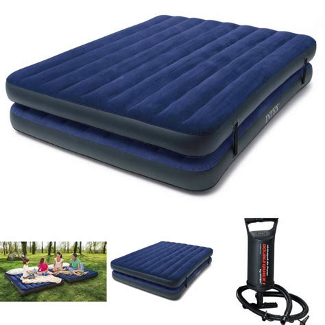 double airbed air mattress queen size intex inflatable raised camping bed  pump ebay