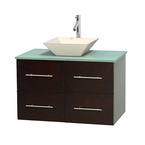 Green Glass Vanity Top by Wyndham Collection Centra 36 In Single Vanity In Espresso