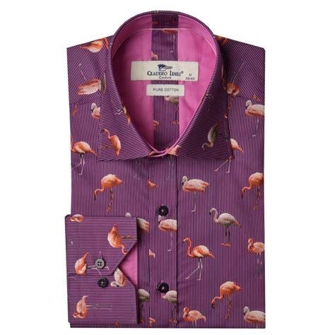 Flaminggo Shirt B 2522 claudio lugli cp6240 flamingo print mens shirt the shirt store