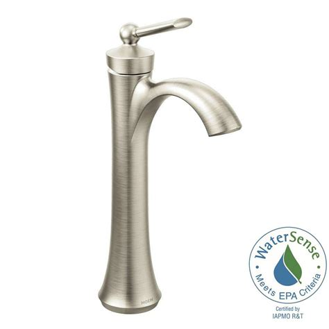 moen kitchen faucets brushed nickel moen wynford single hole single handle vessel bathroom