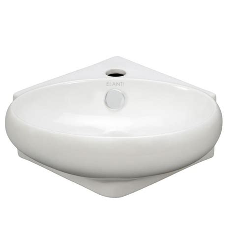 Elanti Wall Mounted Corner Oval Compact Bathroom Sink In Compact Bathroom Sink