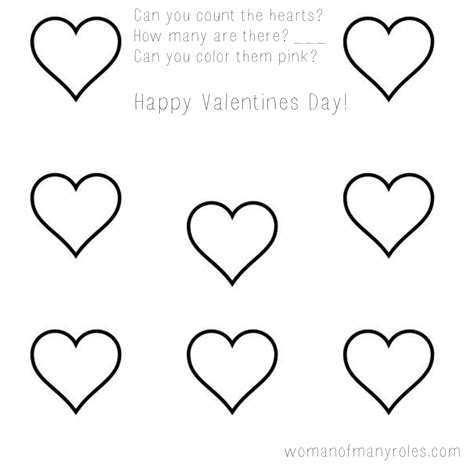 printable preschool valentine activity sheets heart counting printable preschool worksheet woman of