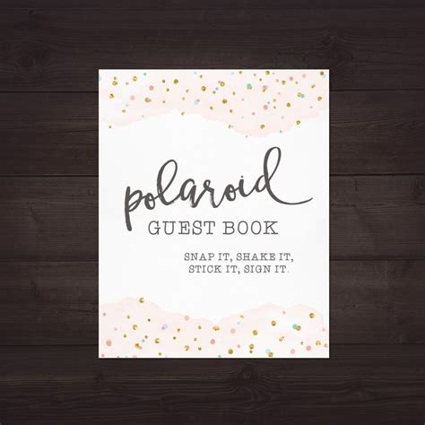 Polaroid Guest Book Sign For Wedding Polaroid Guest Book Printable For Wedding Polaroid Polaroid Guest Book Sign Template
