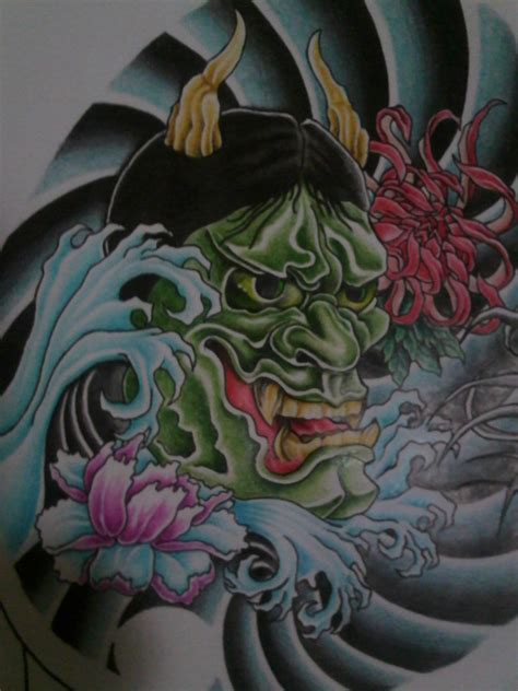 hannya mask chest tattoo meaning mask tattoo drawings