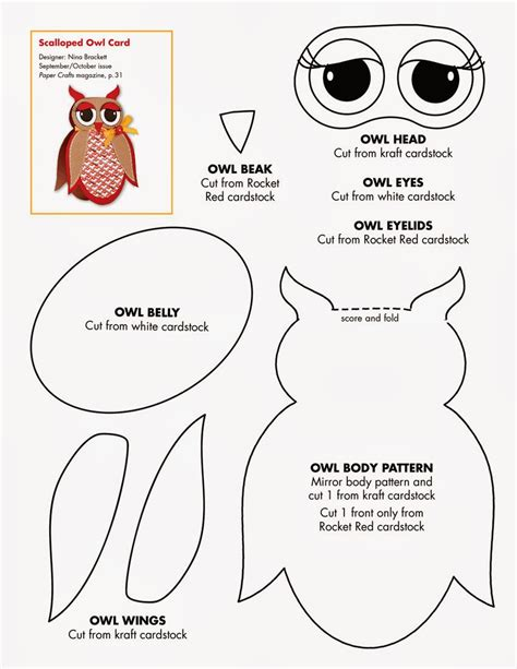 free owl template for cards early play templates owl templates cut and create