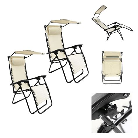 Folding Chair With Sunshade by X2pc Patio Lounge Chair With Sunshade And Pillow Pool