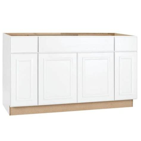 Kitchen Base Cabinets Home Depot Hton Bay 60x34 5x24 In Hton Sink Base Cabinet In Satin White Ksb60 Sw The Home Depot