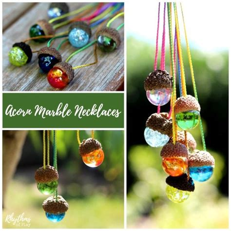 marble crafts for diy acorn marble necklace nature craft rhythms of play