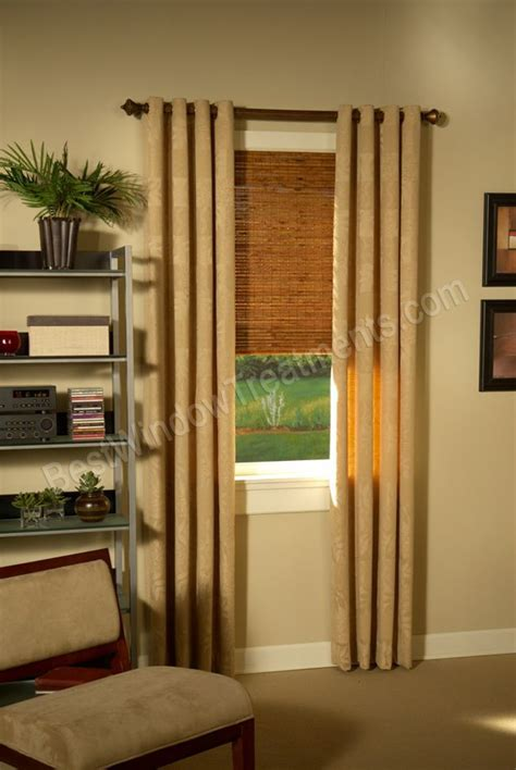 wood blinds with curtains custom grommet drapery panels with wood curtain rod and
