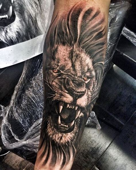tattoo animal lion mens roaring lion forearm tattoos tattoo s pinterest