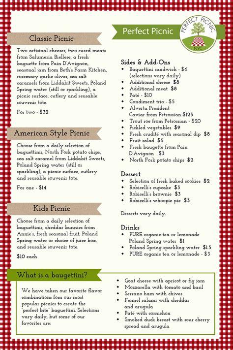 perfect picnic web menu let s go pinterest